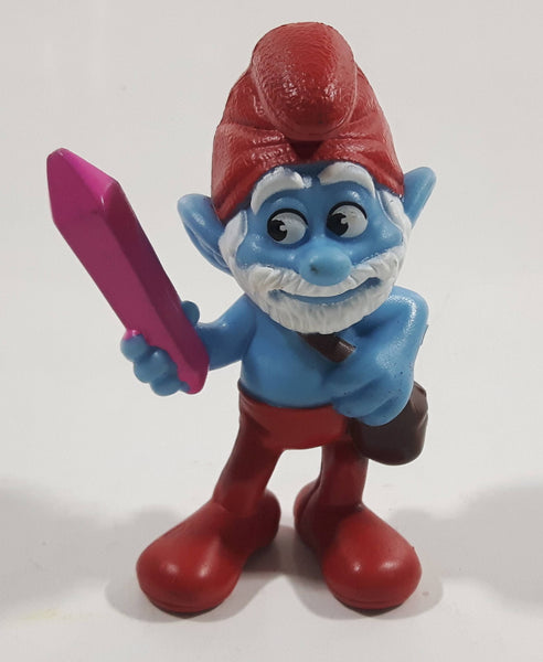 "2013 Peyo ""Papa Smurf"" Smurf Holding Pink Crystal PVC Toy Figure McDonald's Happy Meal"
