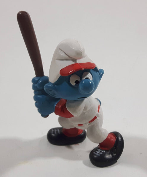 Vintage 1980 Peyo Smurf Character Baseball Player Holding Bat PVC Toy Figure