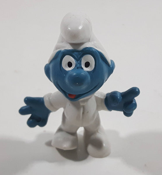 Vintage Peyo Smurf Character Astronaut PVC Toy Figure Missing The Helmet