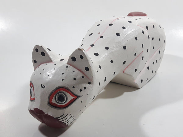 Indonesia Hand Painted White Black Spotted Wooden Carved Cat Sculpture Leaning off Table