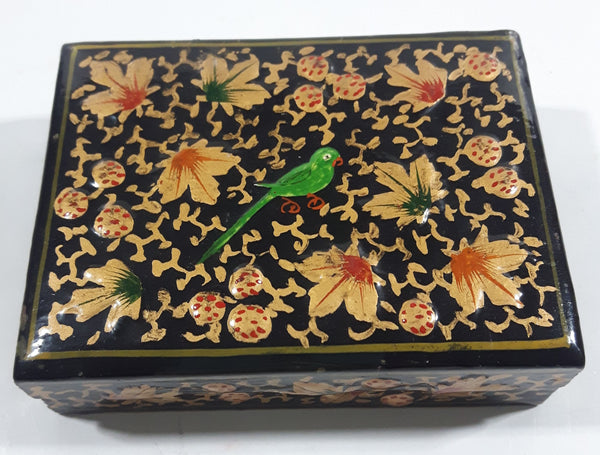 Black Lacquer Raised Parrot Leaves and Berries Small Wood Trinket Box