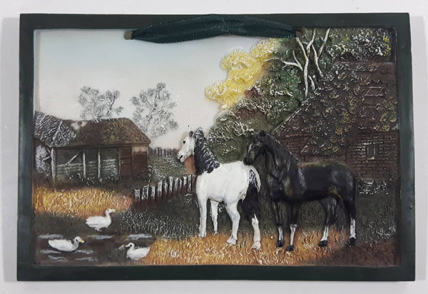 "Sabre Black and White Horses Farm Scene Heavy Resin Plaque Wall Hanging 4"" x 6"""