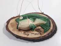 Big Mouth Bass Fish Small Wood Wall Plaque