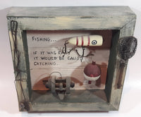 Fishing... If It Was Easy It Would Be Called Catching Wood Shadow Box
