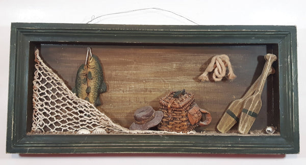"Fishing Fish, Nets, Oars Themed Wood Shadow Box 7"" x 15 1/2"""