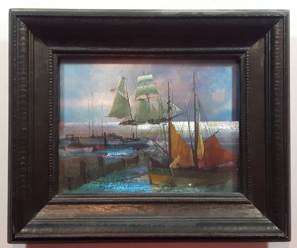 "Vintage Foil Art Print of Sailboats and Tall Ships in a Harbor 9 3/8"" x 11 1/4"""