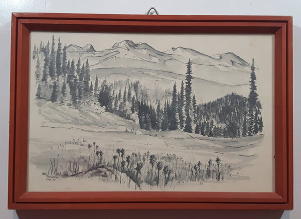 "Vintage 1972 February Moutray Pencil Sketch Drawing of Mountains and Valley with Trees Artwork Picture Wood Frame 7 1/2"" x 10 3/4"""