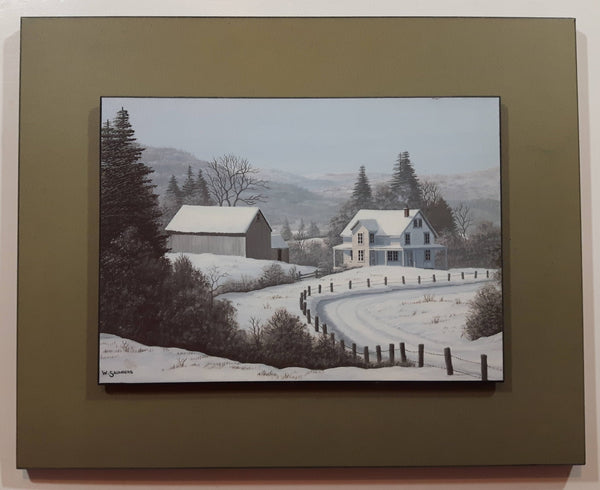 "(Bill) William J. Saunders ""Frosty Day"" Eastern Canada Rural Country Farm House in Winter Art Print Wood Plaque Painting"