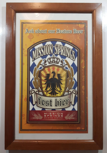 Mission Springs Brewing Company Fest Bier Beer Advertising Poster in Wood Frame