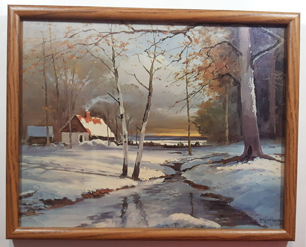 "Vintage 1950s Robert Wood Winterset Rustic Homestead Painting Textured Art Print 11 3/4"" x 14 3/4"""