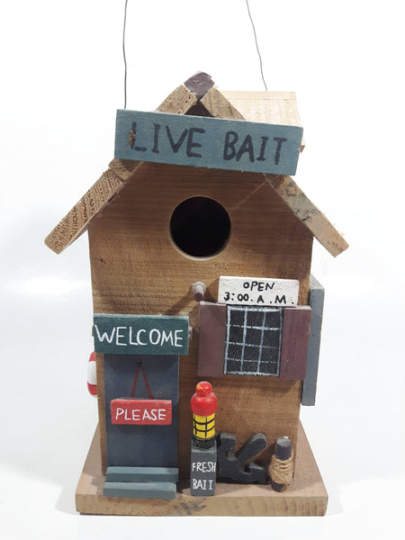 Live Bait Fishing Themed Highly Detailed Hanging Birdhouse Style Wood Building Model
