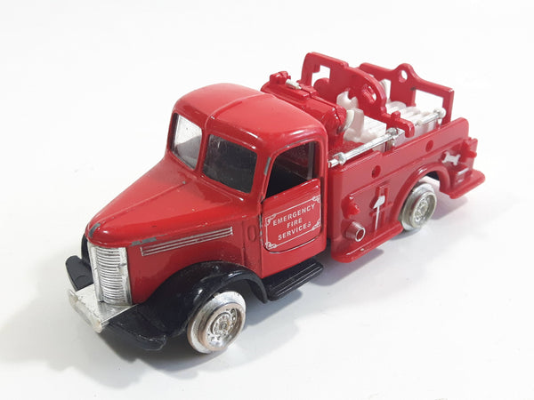 Unknown Brand Emergency Services Fire Truck Die Cast Toy Car Vehicle with Opening Doors - Missing Tires and other parts