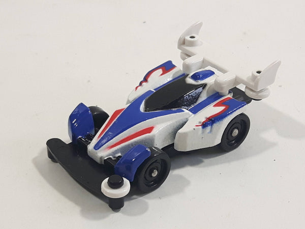 1997 Tomy GoGoGo Racers White and Blue Miniature Die Cast Toy Race Car Vehicle