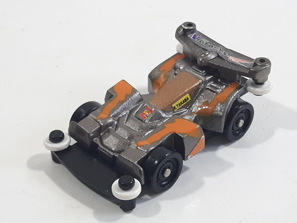 1997 Tomy GoGoGo Racers Silver and Orange Miniature Die Cast Toy Race Car Vehicle