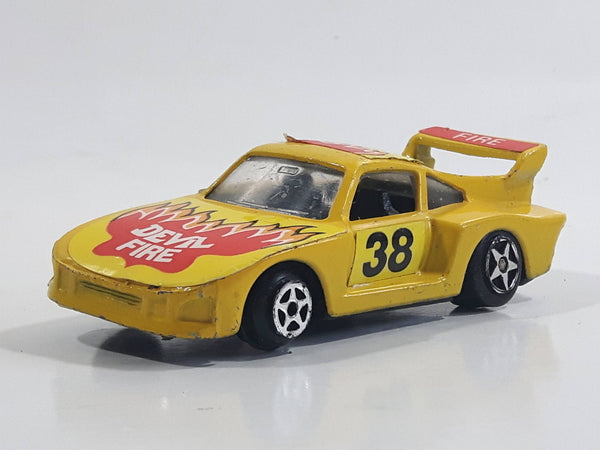 Vintage VHTF Unknown Brand Porsche 935 Devil Fire Yellow Die Cast Toy Race Car Vehicle - Made in Hong Kong