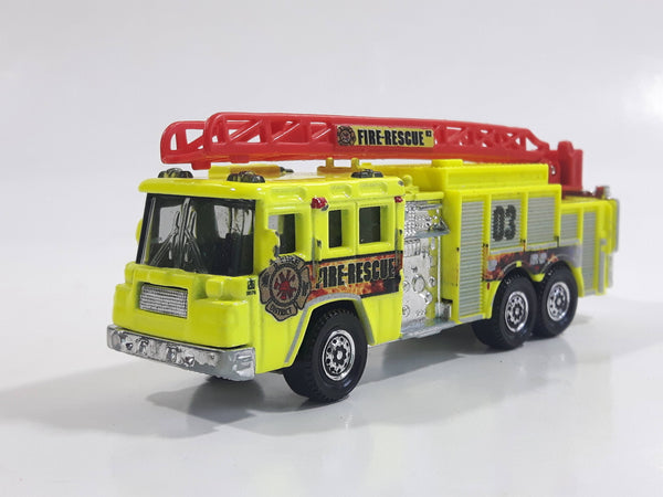 2011 Matchbox Mission Force Fire Crew Pierce Quantum 75' Aerial Ladder Truck Fluorescent Yellow Die Cast Toy Car Vehicle