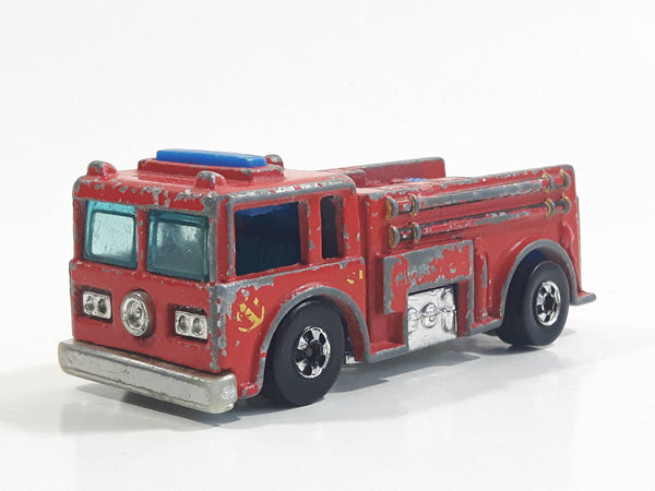 1982 Hot Wheels Fire Eater Red Fire Truck Die Cast Toy Car Vehicle - BW - Blue Lights - Hong Kong