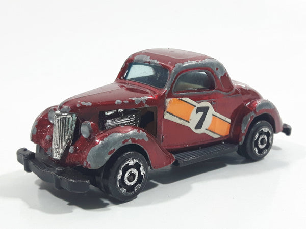 Vintage 1978 Universal Products '36 Ford Coupe 3 Window #7 Dark Red Die Cast Toy Car Vehicle - Hong Kong