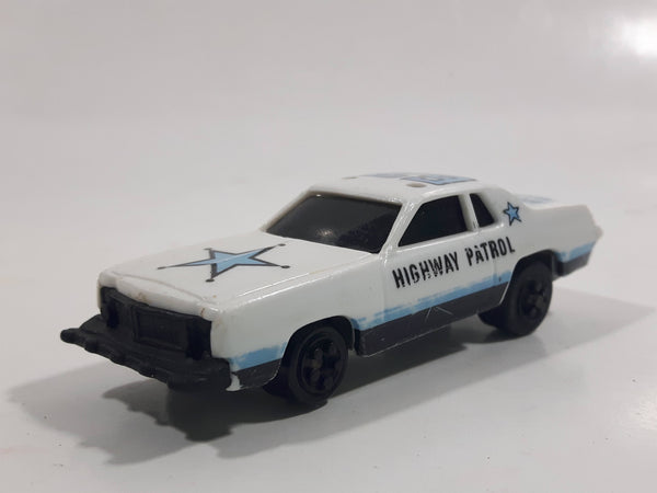 Vintage 1980 Kidco Burnin' Key Cars Police Highway Patrol #62 White Plastic Body Toy Car Vehicle - No Key - 1/64 - Hong Kong