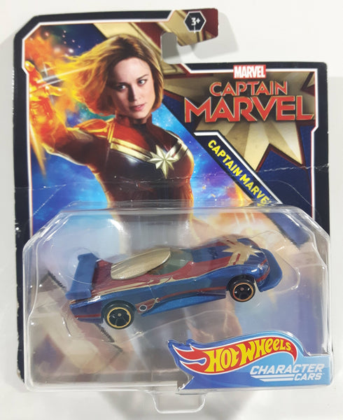 2019 Marvel Captain Marvel Character Cars Captain Marvel Blue, Red, and Gold Die Cast Toy Car Vehicle New In Package