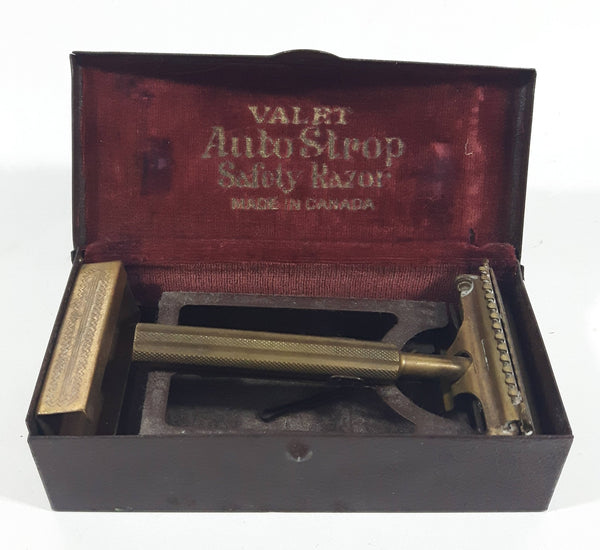 Antique 1920s VALET Auto Strop Safety Razor Gold Plated in Metal Case Made in Canada