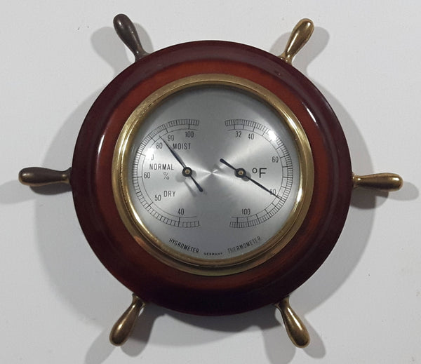 Vintage Hygrometer and Thermometer Wood Cased Brass Knob Captain's Ship Wheel Weather Station Made in Germany