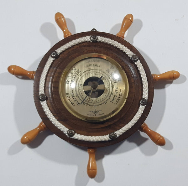 Vintage Wood Cased Wood Knob Rope Decor Captain's Ship Wheel Barometer Weather Station Made in France