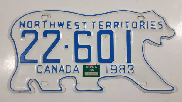 1983 Northwest Territories N.W.T. White with Blue Letters Polar Bear Shaped Vehicle License Plate 22-601