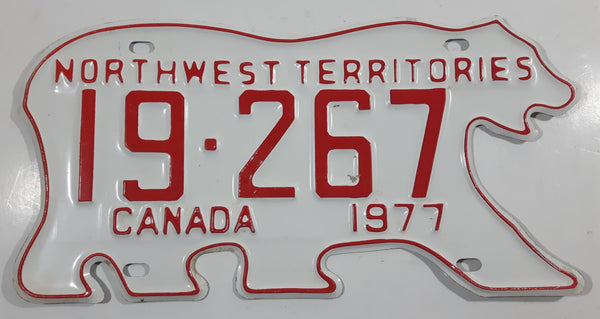 1977 Northwest Territories N.W.T. White with Red Letters Polar Bear Shaped Vehicle License Plate 19-267