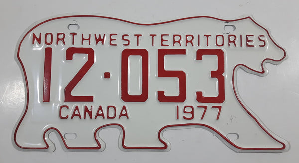1977 Northwest Territories N.W.T. White with Red Letters Polar Bear Shaped Vehicle License Plate 12-053