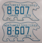 Rare Set of 1975 Northwest Territories N.W.T. White with Light Blue Letters Polar Bear Shaped Vehicle License Plate 8-607