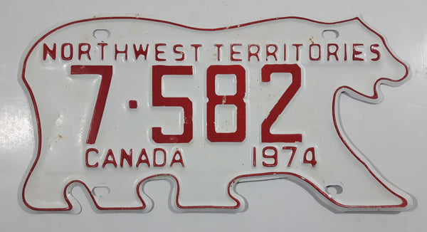1974 Northwest Territories N.W.T. White with Red Letters Polar Bear Shaped Vehicle License Plate 7-582