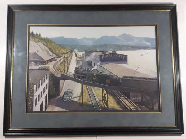 "Front Street New Westminster, British Columbia Canadian National Railway themed 24"" x 32"" Numbered Limited Edition Print Signed By Artist Max Jacquiard 222 of 450"