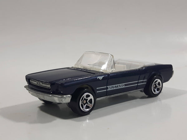 1998 Hot Wheels '65 Ford Mustang Convertible Dark Blue Metalflake Die Cast Toy Car Vehicle - Opening Hood