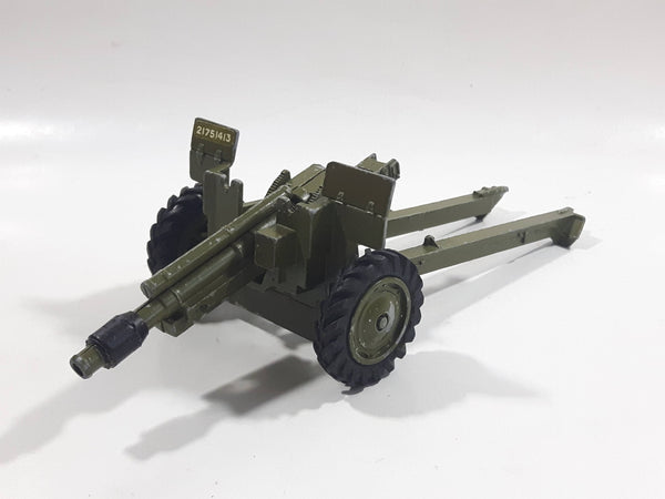 Vintage Dinky Toys Meccano Battle Lines American 105 mm Gun Howitzer Dark Green Die Cast Army Toy 21751413 - Broken Off Hitches