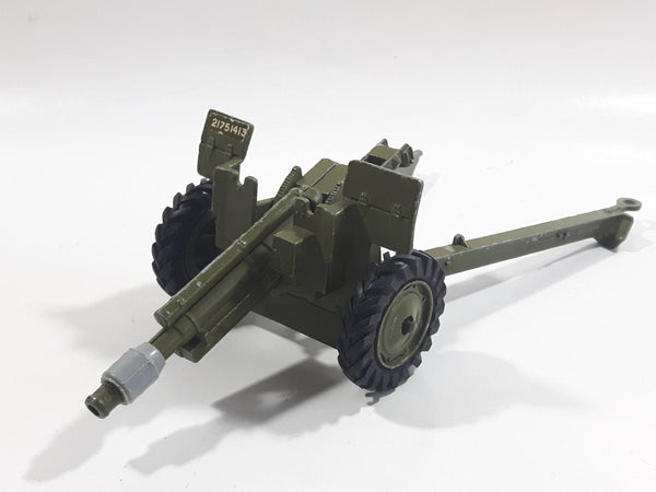 Vintage Dinky Toys Meccano Battle Lines American 105 mm Gun Howitzer Dark Green Die Cast Army Toy 21751413 - 1 hitch broken