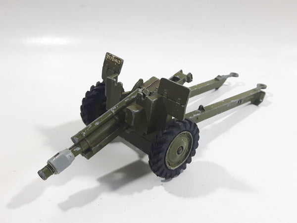 Vintage Dinky Toys Meccano Battle Lines American 105 mm Gun Howitzer Dark Green Die Cast Army Toy 21751413