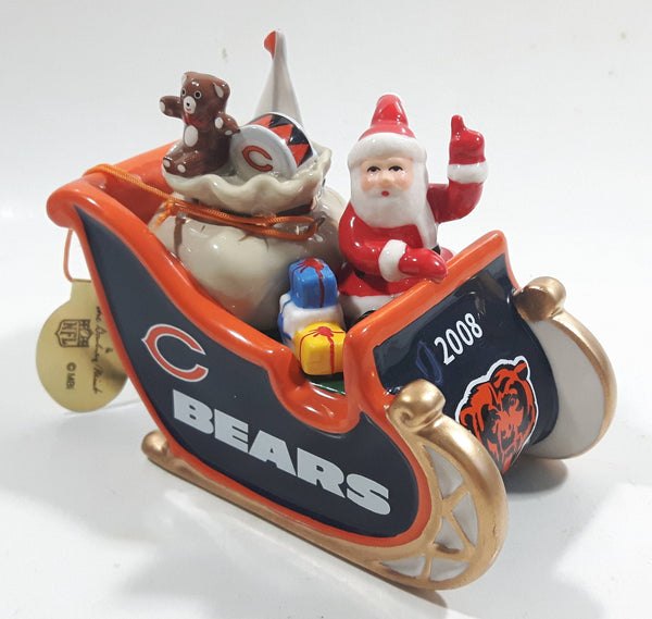 2008 The Danbury Mint Chicago Bears NFL Football Team Santa Christmas Sleigh Ceramic Ornament