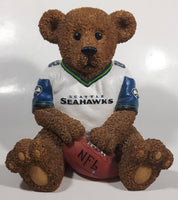 "Very Hard To Find Seattle Seahawks NFL Football Team 7"" Tall Resin Teddy Bear Coin Bank Sports Team Collectible"