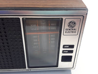 Vintage General Electric Model No. 7-4115B AM/FM Radio with Walnut Grain Wood Finish