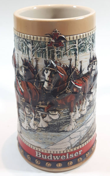 "1988 Budweiser Holiday Stein Collection Collector's Series ""The hitch on a winter's evening."" Ceramic Beer Stein - Handcrafted in Brazil by Ceramarte"