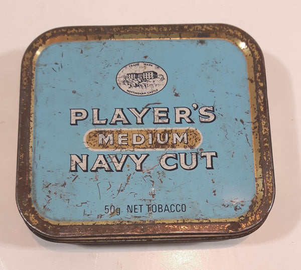 Vintage Player's Medium Navy Cut 50g Light Blue Tin Metal Tobacco Container