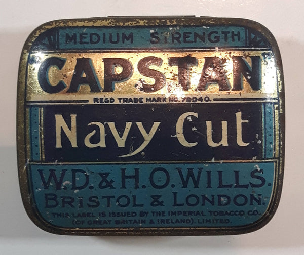 Antique Capstan W.D. & H.O. Wills Bristol & London Medium Strength Navy Cut Small Blue Tin Metal Tobacco Container