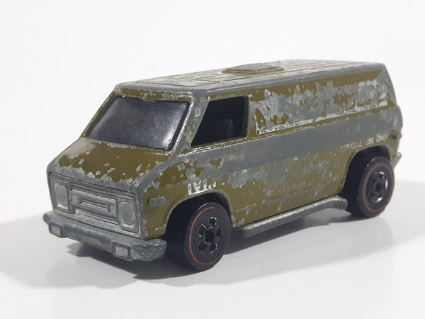 Vintage 1976 Hot Wheels Flying Colors Khaki Kooler Super Van Olive Army Green U.S. Military Police Die Cast Toy Car Vehicle RL - Hong Kong