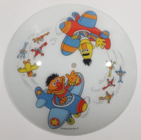 Vintage Jim Henson Productions Sesame Street Bert and Ernie in Airplanes Aviation Themed Glass Ceiling Light Cover Shade