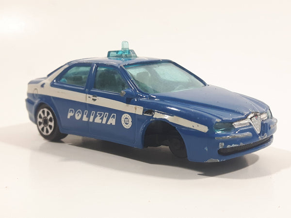 Burago Alfa Romeo 156 Polizia Blue 1/43 Scale Die Cast Toy Police Cop Car Vehicle Missing a Wheel