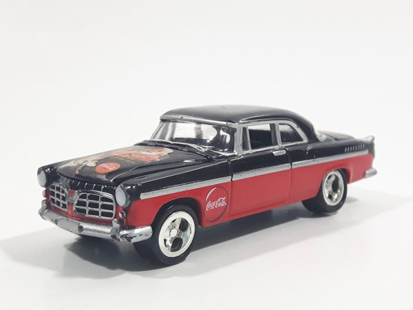 2000 Johnny Lightning 1955 Chrysler 300C Coca-Cola Santa Claus Black Red Die Cast Toy Car Vehicle with Opening Hood
