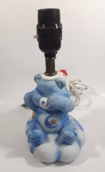 Vintage American Greetings Corp 1983 MCMLXXXIII Care Bears Bedtime Bear Blue and White Porcelain Nightstand Bedroom Lamp Light
