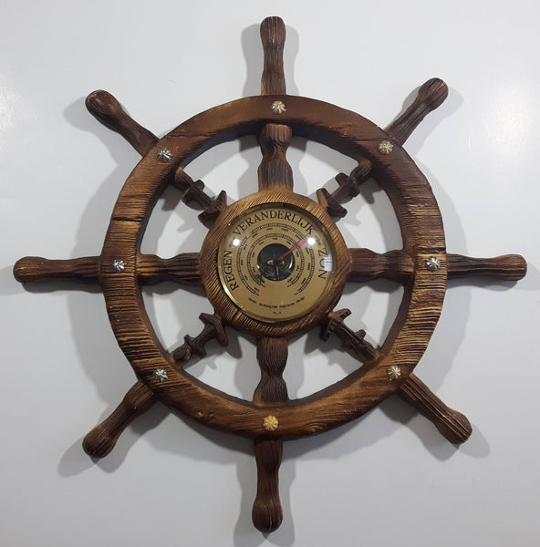 "Vintage Dutch Wood Texture Hard Plastic 16"" Captain's Ship Wheel Barometer"