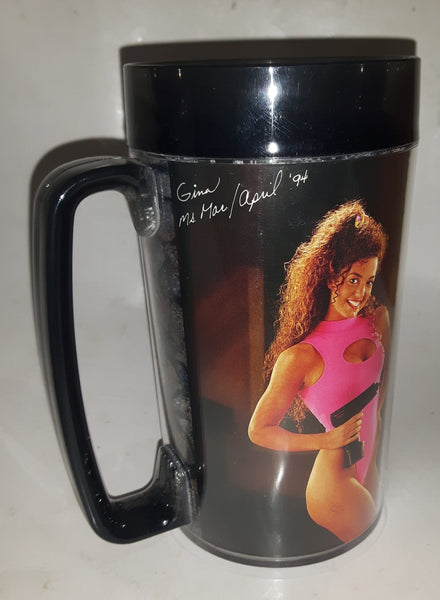 "1994 March April Thermo Serv Snap On Tools Gina Calendar Girl 6 1/4"" Tall Plastic Beer Mug Cup"